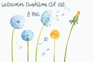 Watercolor Dandellion Clip Art