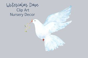 Watercolor Dove - Clip Art