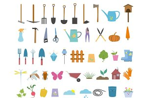 Gardening tools сlip art set