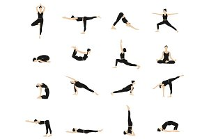 Vector yoga postures for woman