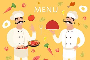 Chef with food, menu background
