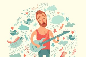 Singer cartoon guitarist
