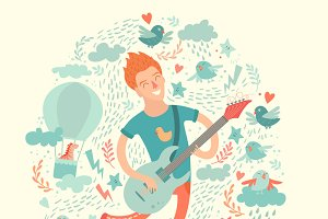 Guitarist, cartoon boyplaying guitar