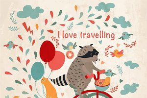 Cute raccoon on a bicycle, trip