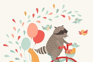 Cute raccoon on a bicycle poster