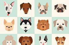 Set of cute dogs icons
