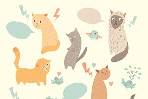 Cute cats vector illustration