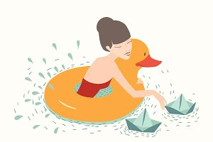 Girl with duck, lifebuoy floating