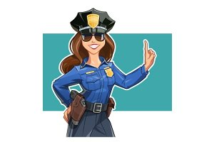 Beautiful girl police-officer in uniform