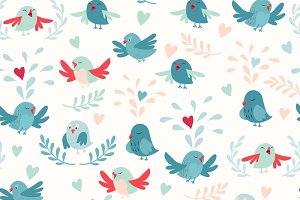 Cute birds pattern vector