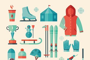 Set of winter sports icon