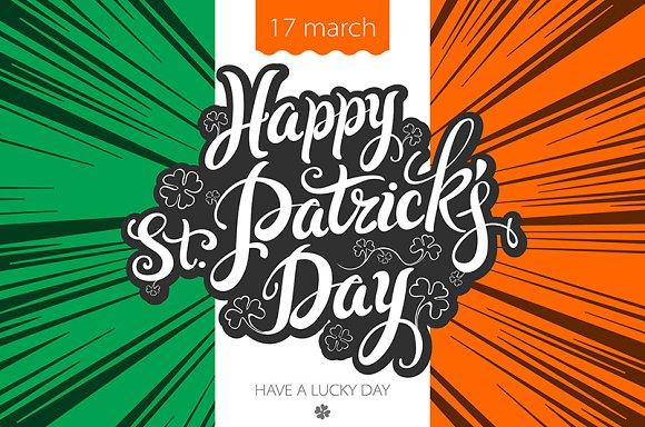 lettering Patricks Day Ireland flag