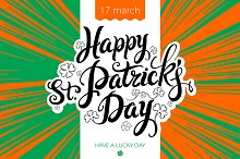 lettering Patricks Day Ireland flag