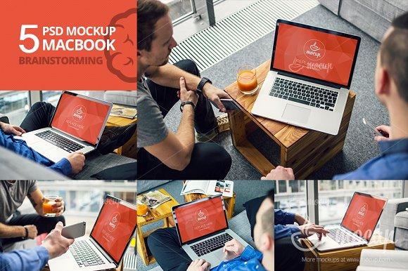 Download 5 PSD Mockup MacBook Brainstorming