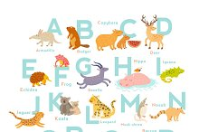 Zoo alphabet cute animal