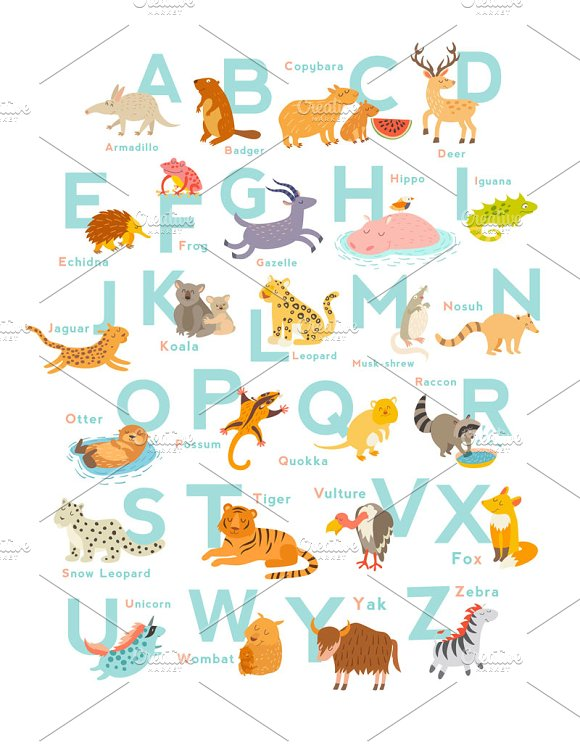 Zoo alphabet cute animal