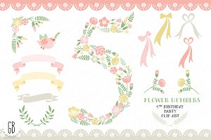 Floral number, five, 5th, clip art