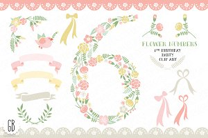 Floral number, six, 6th, clip art