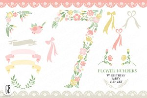 Floral number, seven, 7th, clip art