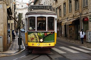 Traditional tram in Portugal