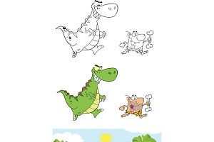 Dinosaur Chasing A Caveman