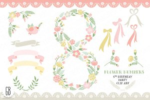 Floral number, eight, 8th, clip art