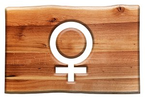 Female symbol cut in wooden board.