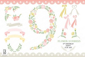 Floral number, nine, 9th, clip art
