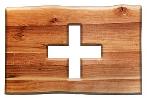 Cross cut in wooden board.