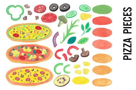 Pizza Watercolor Clipart Illustrations Creative Market