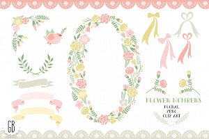 Floral number, zero, anniversary