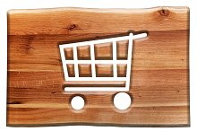 Shopping cart sign in wooden board.