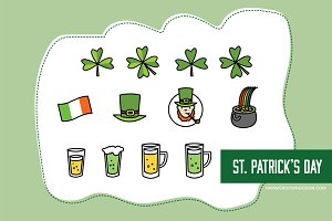 St. Patrick's Day Vector Line Icons