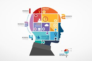 Infographic Head Jigsaw Concept.