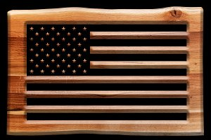 The USA flag in wooden board.