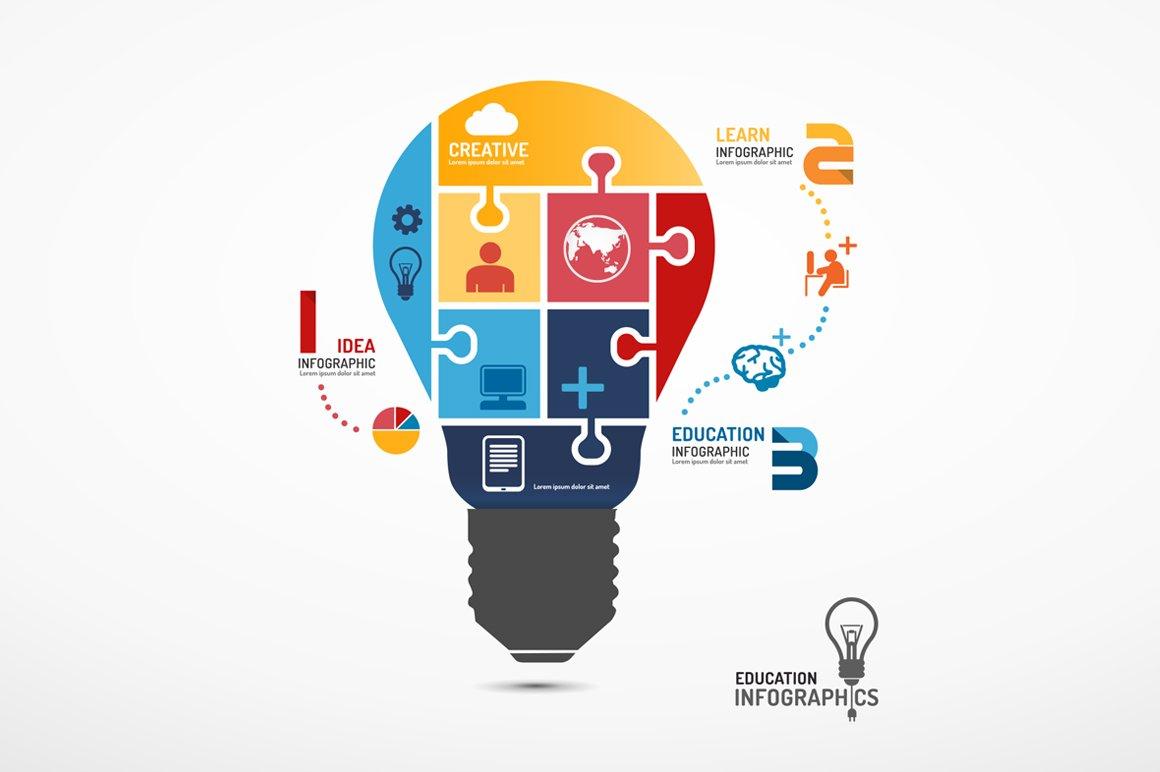 Infographic lightbulb Jigsaw Concept ~ Other Presentation ...