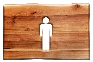 Man symbol in wooden board.