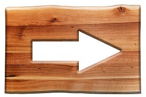 Go right sign in wooden board.