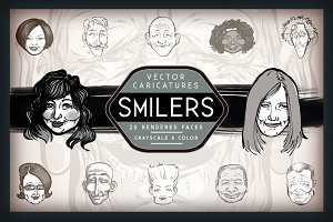 Vector Caricatures - Smiling Faces