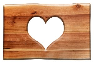 Heart shape in wooden board.