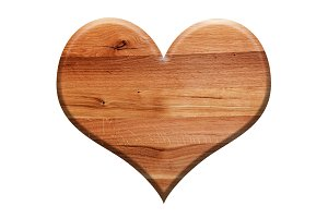 Wooden heart isolated on white.