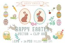 Happy Easter- Vector+ Clip Art