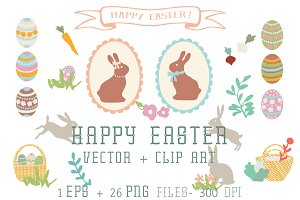 Happy Easter- Vector+ Clip Art