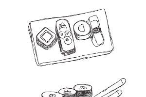 sushi, doodle, sketch