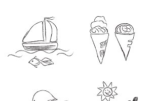 summer, vocation, icons, sketch