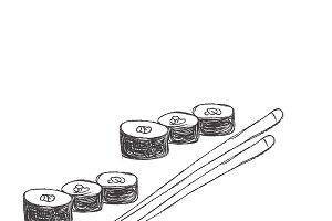 sushi, sketch, icon
