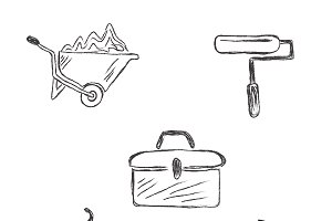 construction, icons, sketch, tools