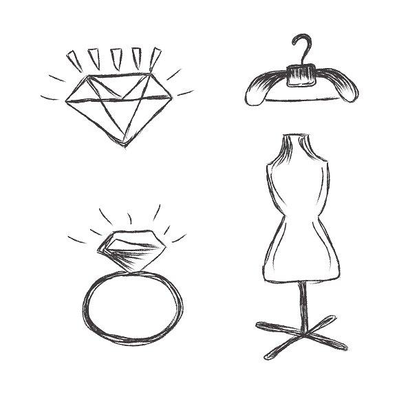 fashion, sketch, elements, icons