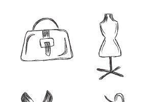 fashion, sketch, icons