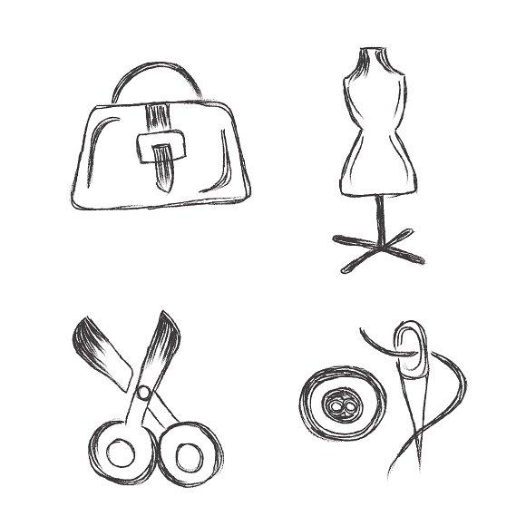 fashion, sketch, icons